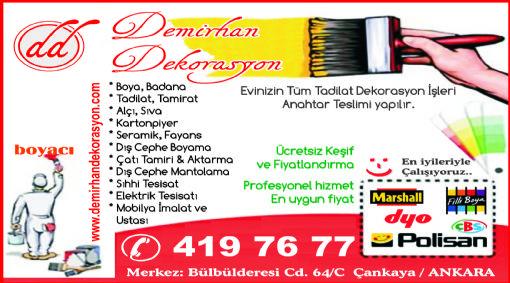 Hilal Mahallesi Boya Badana Tadilat Dekorasyon Firmalari Ankara